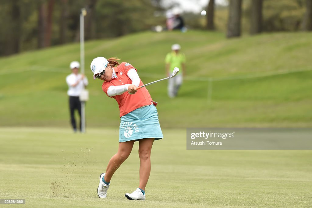 <a gi-track='captionPersonalityLinkClicked' href=/galleries/search?phrase=Mika+Miyazato&family=editorial&specificpeople=2646628 ng-click='$event.stopPropagation()'>Mika Miyazato</a> of Japan hits her second shot on the 11th hole during the second round of the World Ladies Championship Salonpas Cup at the Ibaraki Golf Club on May 6, 2016 in Tsukubamirai, Japan.