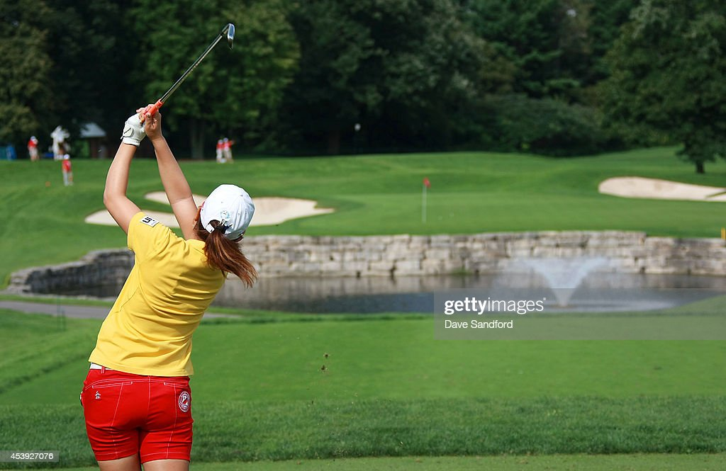 <a gi-track='captionPersonalityLinkClicked' href=/galleries/search?phrase=Mika+Miyazato&family=editorial&specificpeople=2646628 ng-click='$event.stopPropagation()'>Mika Miyazato</a> of Japan hits her tee shot on the 2nd hole during the first round of the LPGA Canadian Pacific Women's Open at the London Hunt and Country Club on August 21, 2014 in London, Ontario, Canada.