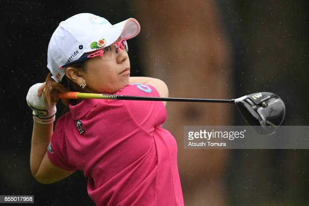 Mika Miyazato of Japan hits her tee shot on the 3rd hole during the first round of Japan Women's Open 2017 at the Abiko Golf Club on September 28...