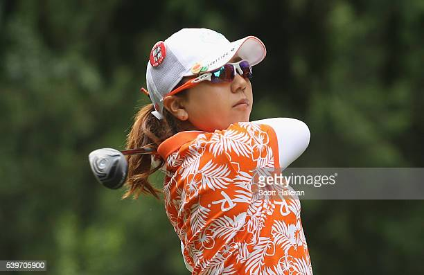 Mika Miyazato of Japan hits her tee shot on the ninth hole during the final round of the KPMG Women's PGA Championship at the Sahalee Country Club on...
