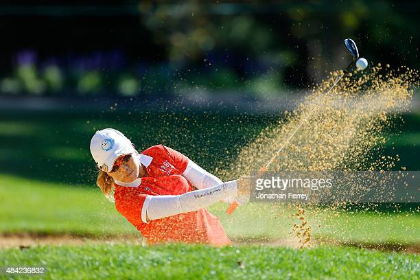Mika Miyazato of Japan hits out of the bunker on the 2nd hole during the final round of the LPGA Cambia Portland Classic at Columbia Edgewater...