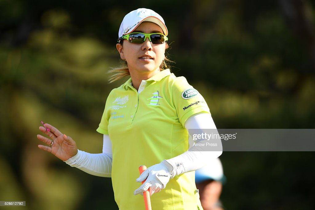 MIka Miyazato of Japan looks on during the first round of the World Ladies Championship Salonpas Cup at the Ibaraki Golf Club on May 5, 2016 in Tsukubamirai, Japan.