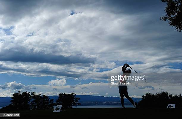 Mika Miyazato of Japan plays her tee shot on the 14th hole during the second round of the 2010 Evian Masters on July 22 2010 in Evian France