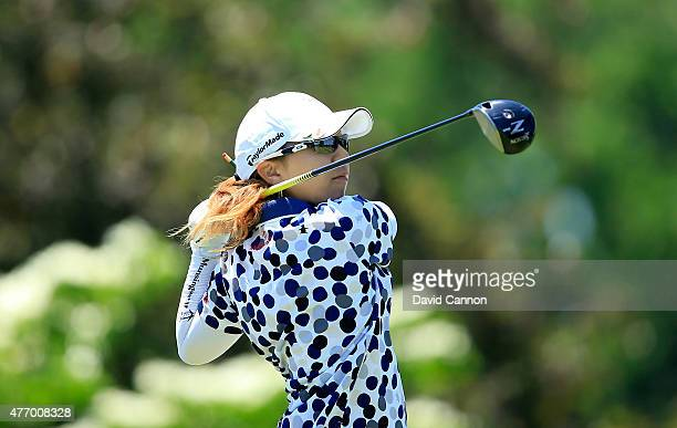 Mika Miyazato of Japan plays her tee shot on the par 4 11th hole during the third round of the 2015 KPMG Women's PGA Championship on the West Course...