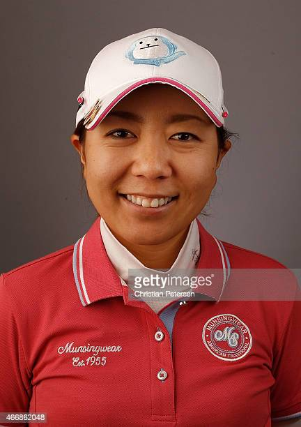 Mika Miyazato of Japan poses for a portrait ahead of the LPGA Founders Cup at Wildfire Golf Club on March 18 2015 in Phoenix Arizona