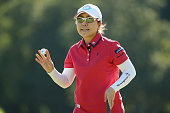 Mika Miyazato of Japan reacts during the second round of the Munsingwear Ladies Tokai Classic at the Shin Minami Aichi Country Club Mihama Course on...