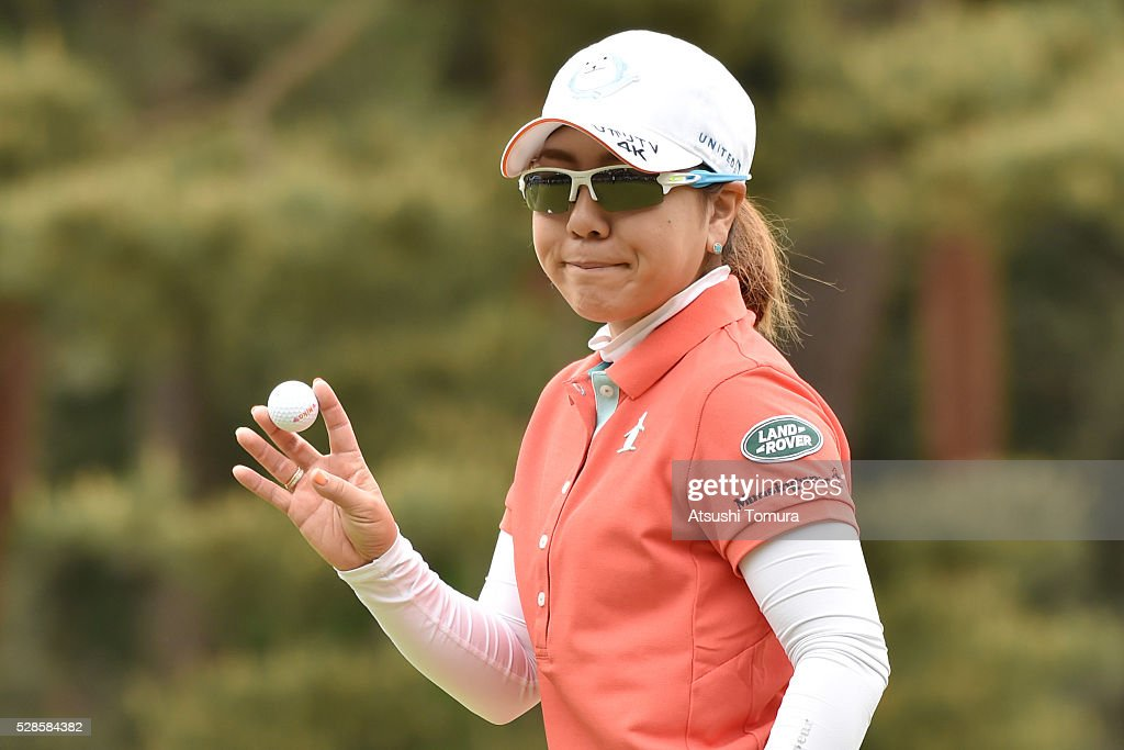 <a gi-track='captionPersonalityLinkClicked' href=/galleries/search?phrase=Mika+Miyazato&family=editorial&specificpeople=2646628 ng-click='$event.stopPropagation()'>Mika Miyazato</a> of Japan reacts during the second round of the World Ladies Championship Salonpas Cup at the Ibaraki Golf Club on May 6, 2016 in Tsukubamirai, Japan.