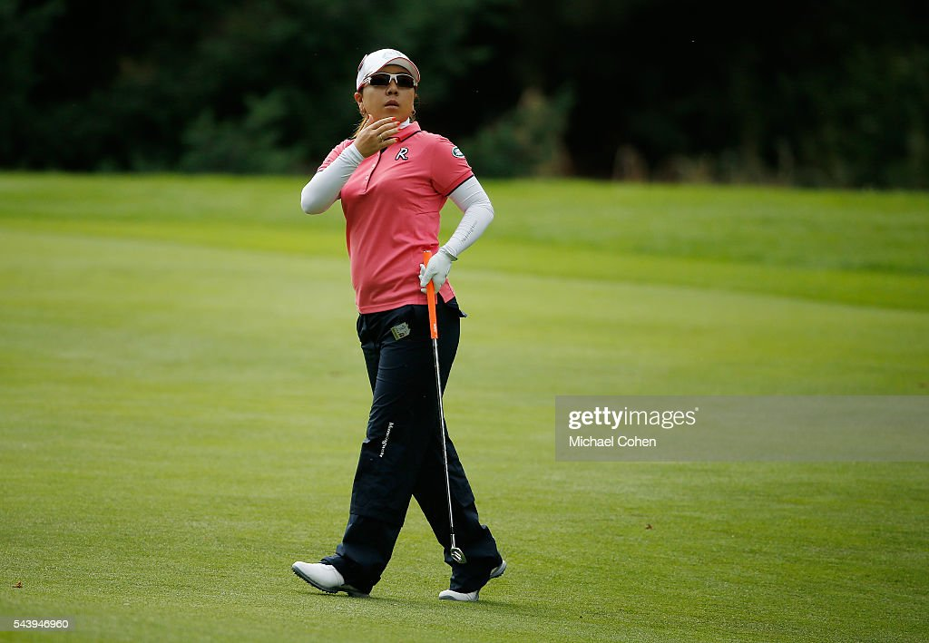 <a gi-track='captionPersonalityLinkClicked' href=/galleries/search?phrase=Mika+Miyazato&family=editorial&specificpeople=2646628 ng-click='$event.stopPropagation()'>Mika Miyazato</a> of Japan reacts to her second shot on the 14th hole during the first round of the Cambia Portland Classic held at Columbia Edgewater Country Club on June 30, 2016 in Portland, Oregon.