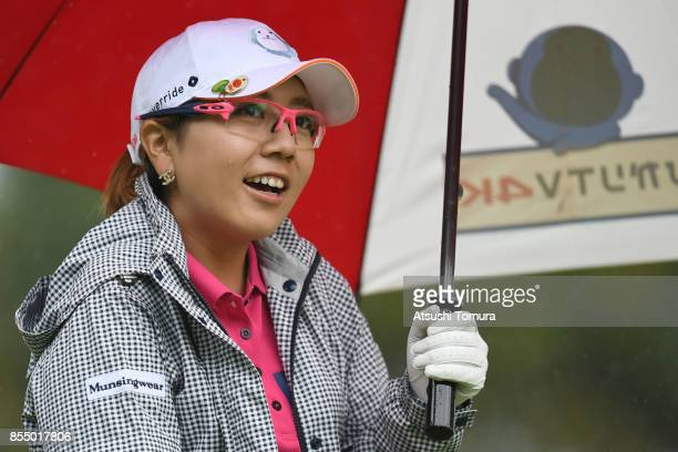 Mika Miyazato of Japan smiles during the first round of Japan Women's Open 2017 at the Abiko Golf Club on September 28 2017 in Abiko Chiba Japan