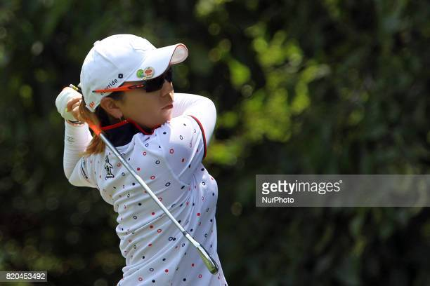 Mika Miyazato of Okinawa Japan follows her shot from the 2nd tee during the second round of the Marathon LPGA Classic golf tournament at Highland...