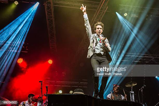 Mika performs during Concert pour Tous at Place de la Bastille on May 21 2013 in Paris France