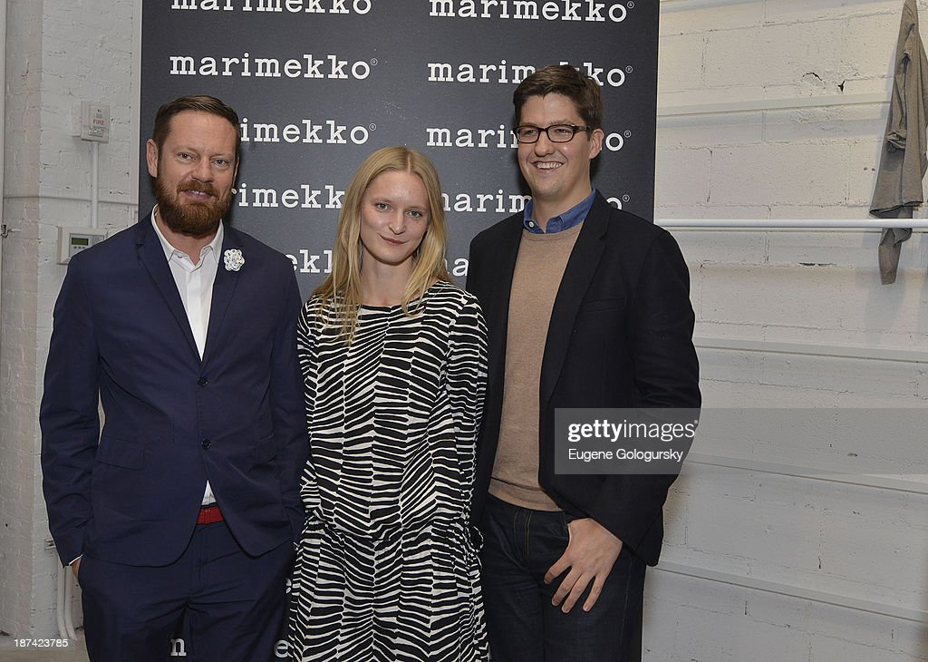 Mika Pirainen, Aino Maija Metsok and Spencer Bailey attend the Gotham Magazine Celebrates An Evening Of The Art Of Printmaking At Marimmeko on November 8, 2013 in New York City.