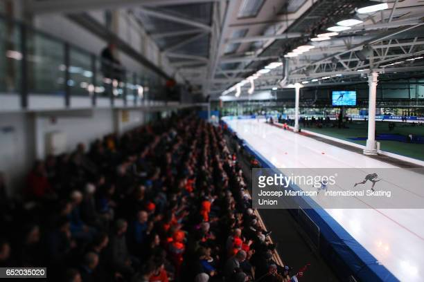 Mika Poutala of Finland and Nico Ihle of Germany compete in the Men's 1000m during day 1 of the ISU World Cup Speed Skating at Soermarka Arena on...