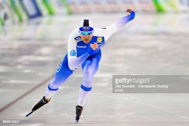 Mika Poutala of Finland competes in the men's 1000 meter final during day 3 of the ISU World Cup Speed Skating event on December 10 2017 in Salt Lake...