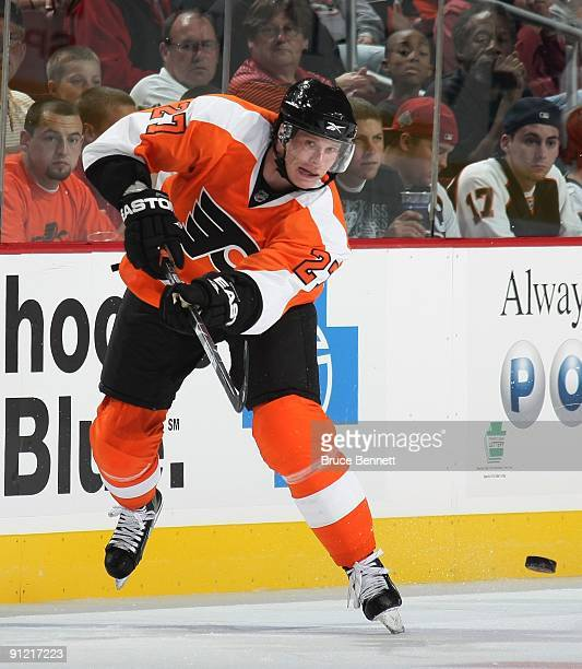Mika Pyorala of the Philadelphia Flyers skates against the Detroit Red Wings during preseason action at the Wachovia Center on September 22 2009 in...