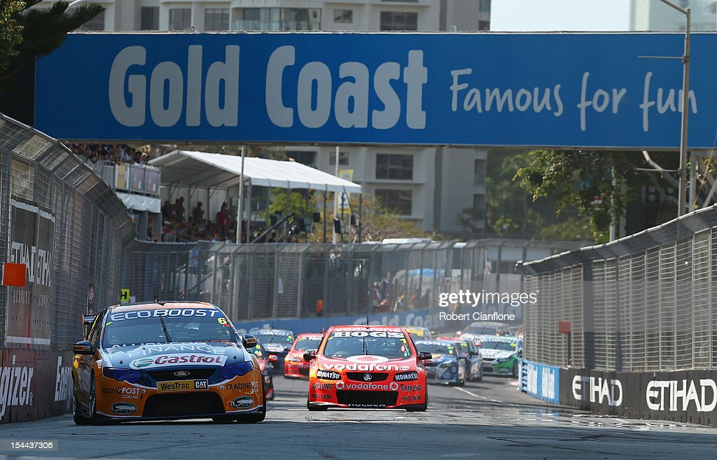 <a gi-track='captionPersonalityLinkClicked' href=/galleries/search?phrase=Mika+Salo&family=editorial&specificpeople=822179 ng-click='$event.stopPropagation()'>Mika Salo</a> of Finland leads at the start of race 22 for the Gold Coast 600, which is round 12 of the V8 Supercars Championship Series at the Gold Coast Street Circuit on October 20, 2012 on the Gold Coast, Australia.
