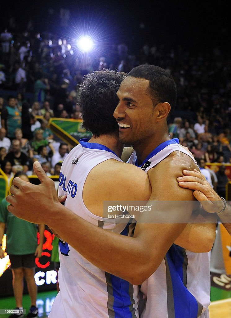 Mika Vukona (r) and Daryl Corletto of the Breakers celebrate after winning the round 14 NBL match between the Townsville Crocodiles and the New Zealand Breakers at Townsville Entertainment Centre on January 11, 2013 in Townsville, Australia.