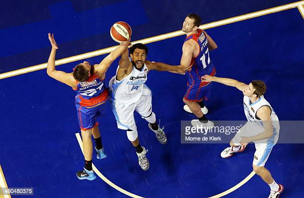 Mika Vukona of the Breakers competes with Daniel Johnson of the 36ers during the round 12 NBL match between the Adelaide 36ers and the New Zealand...