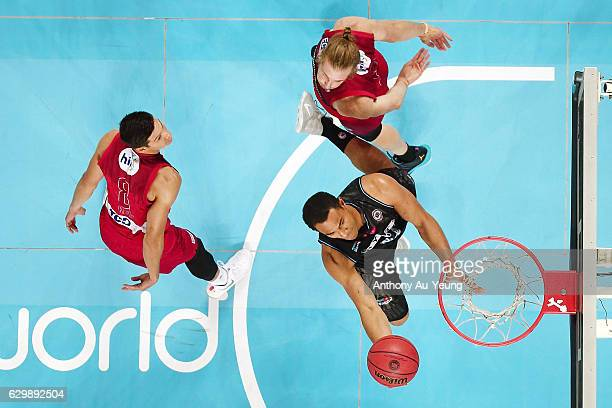 Mika Vukona of the Breakers goes to the basket against Jesse Wagstaff of the Wildcats during the round 11 NBL match between New Zealand Breakers and...