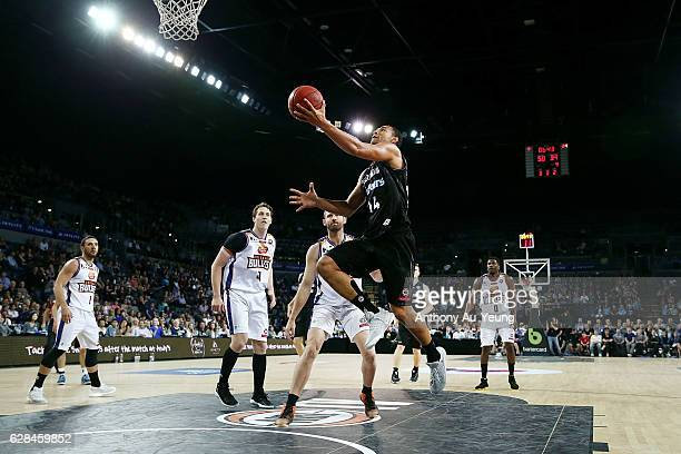 Mika Vukona of the Breakers goes to the basket during the round 10 NBL match between the New Zealand Breakers and the Brisbane Bullets at Vector...