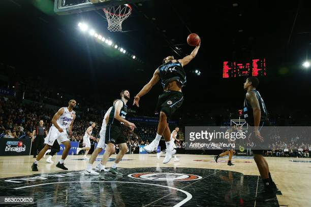 Mika Vukona of the Breakers grabs a rebound during the round three NBL match between the New Zealand Breakers and the Sydney Kings at Spark Arena on...