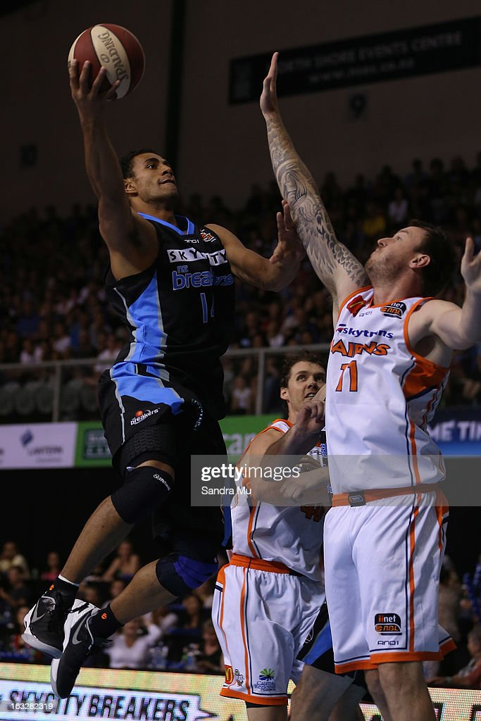 Mika Vukona of the Breakers lays the ball up during the round 22 NBL match between the New Zealand Breakers and the Cairns Taipans at North Shore Events Centre on March 7, 2013 in Auckland, New Zealand.