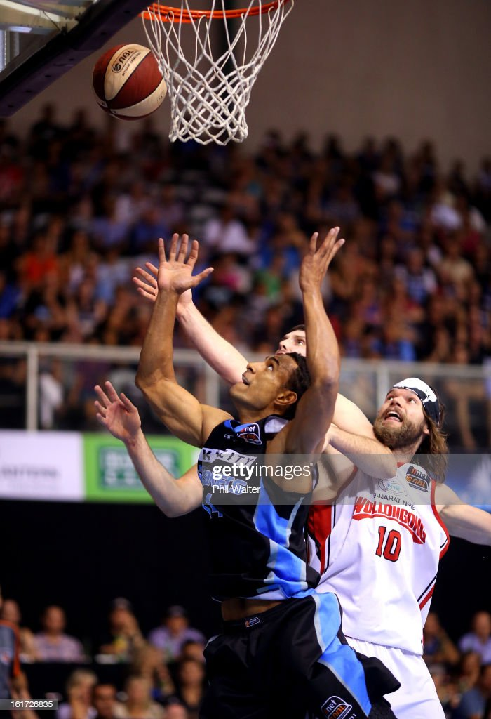 Mika Vukona of the Breakers looks for the rebound during the round 18 NBL match between the New Zealand Breakers and the Wollongong Hawks at the North Shore Events Centre on February 15, 2013 in Auckland, New Zealand.