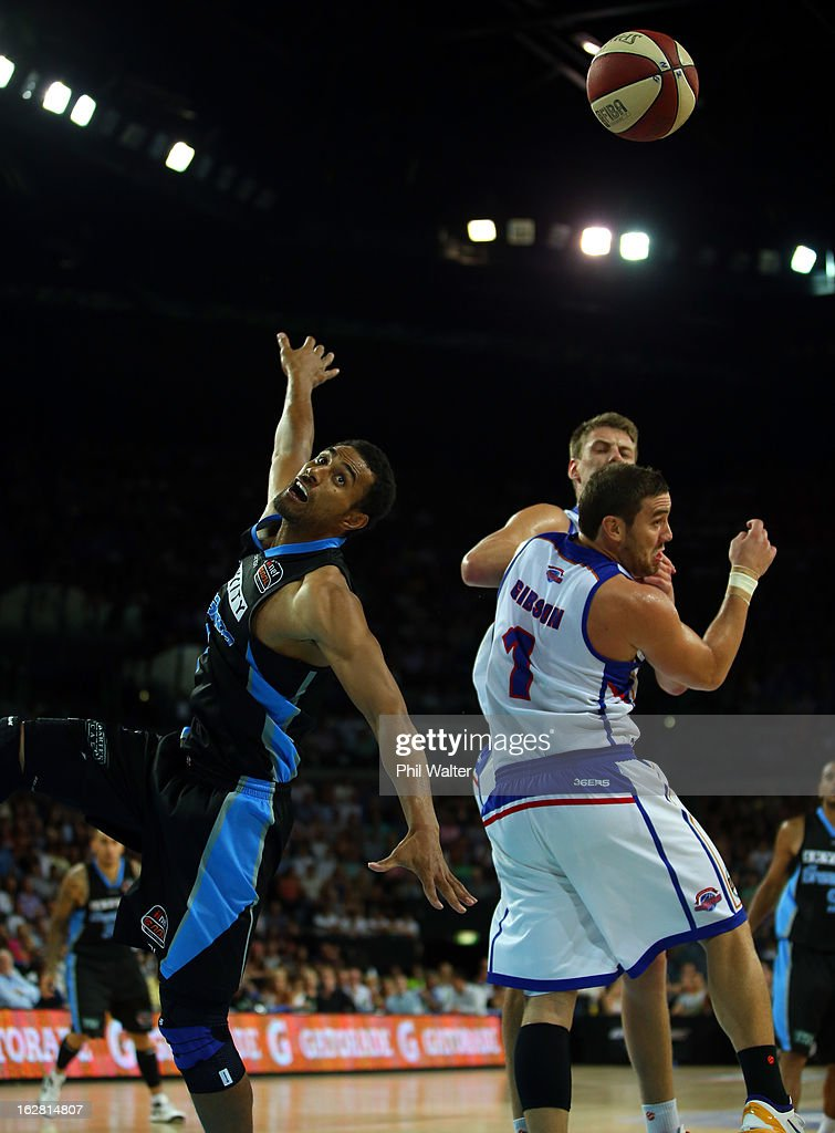 Mika Vukona of the Breakers looks for the rebound during the round 21 NBL match between the New Zealand Breakers and the Adelaide 36ers at Vector Arena on February 28, 2013 in Auckland, New Zealand.