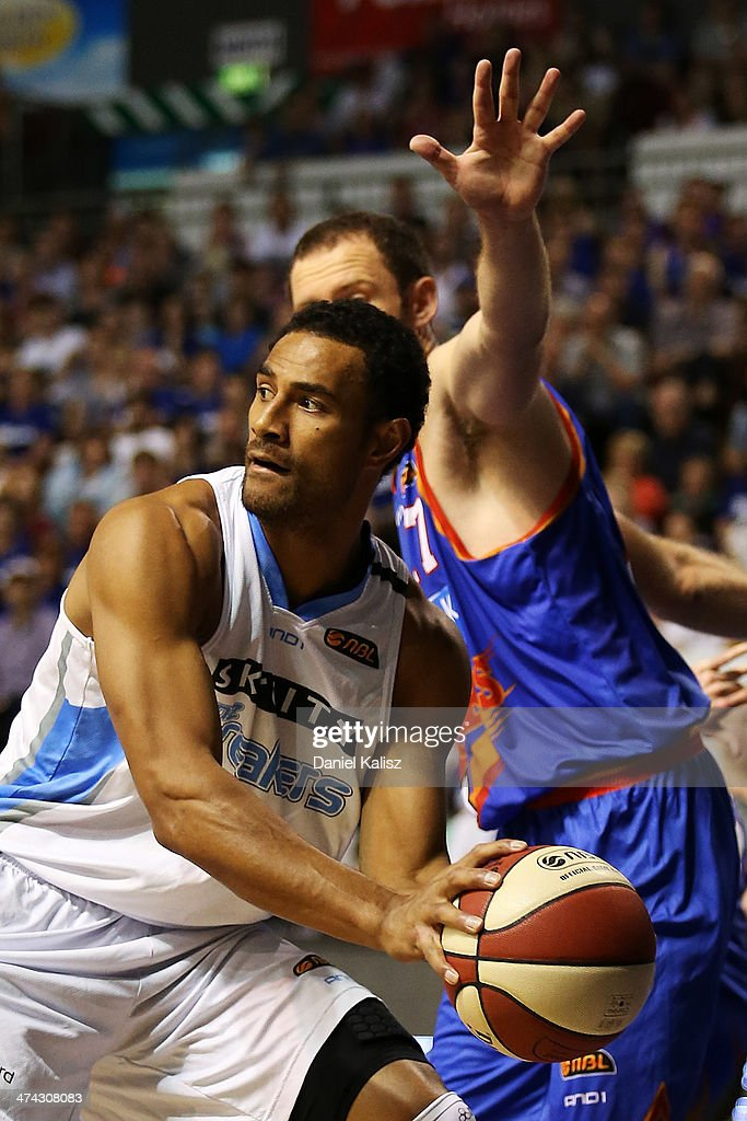 Mika Vukona of the Breakers looks to pass during the round 19 NBL match between the Adelaide 36ers and the New Zealand Breakers at Adelaide Arena in February 23, 2014 in Adelaide, Australia.