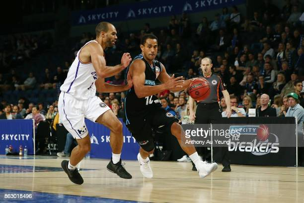 Mika Vukona of the Breakers on the drive against Perry Ellis of the Kings during the round three NBL match between the New Zealand Breakers and the...