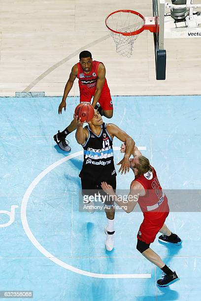 Mika Vukona of the Breakers puts up a shot against Jesse Wagstaff of the Wildcats during the round 16 NBL match between the New Zealand Breakers and...