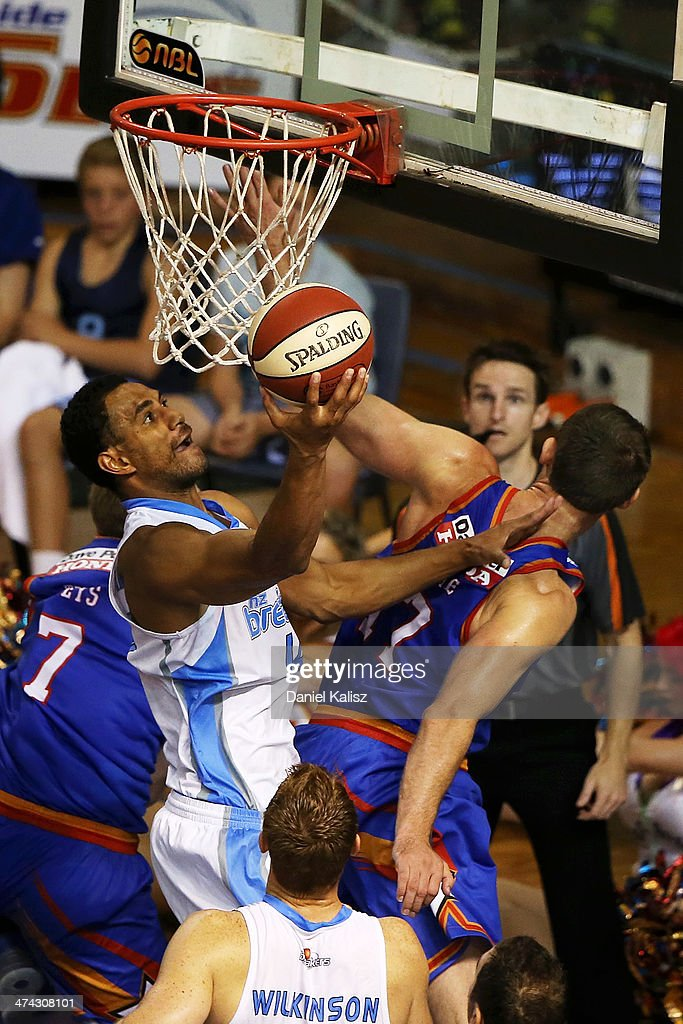 Mika Vukona of the Breakers takes a shot during the round 19 NBL match between the Adelaide 36ers and the New Zealand Breakers at Adelaide Arena in February 23, 2014 in Adelaide, Australia.