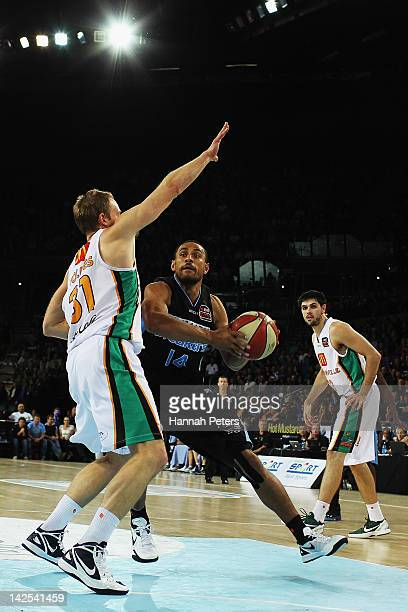 Mika Vukona of the Breakers takes the ball to the line during game three of the NBL Finals series between the Townsville Crocodiles and the New...