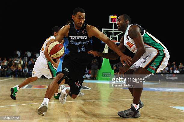 Mika Vukona of the Breakers takes the ball to the line during the round eight NBL match between the New Zealand Breakers and the Townsville...