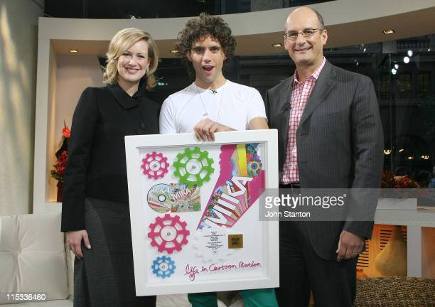 Mika with hosts Melissa Doyle and David Koch during Mika Performs on 'Sunrise' June 1 2007 at Channel 7 Studios in Sydney NSW Australia