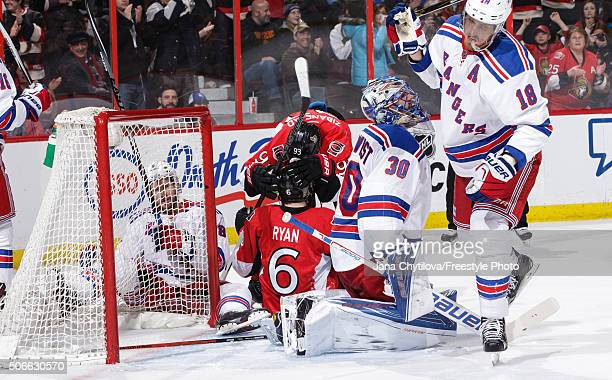 Mika Zibanejad congratulates team mate Bobby Ryan of the Ottawa Senators after he scored a goal against Henrik Lundqvist of the New York Rangers...
