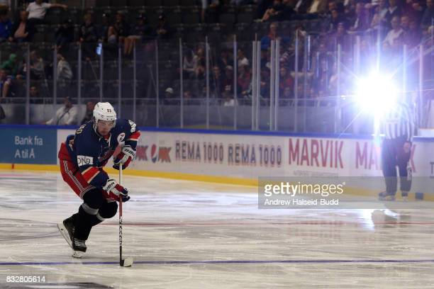 Mika Zibanejad in action during the Team Zuccarello v Team Icebreakers All Star Game at the DNB Arena on August 16 2017 in Stavanger Norway