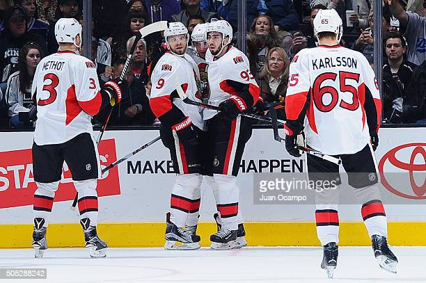 Mika Zibanejad Milan Michalek Marc Methot and Erik Karlsson of the Ottawa Senators celebrate Zibanejad's third period goal against the Los Angeles...