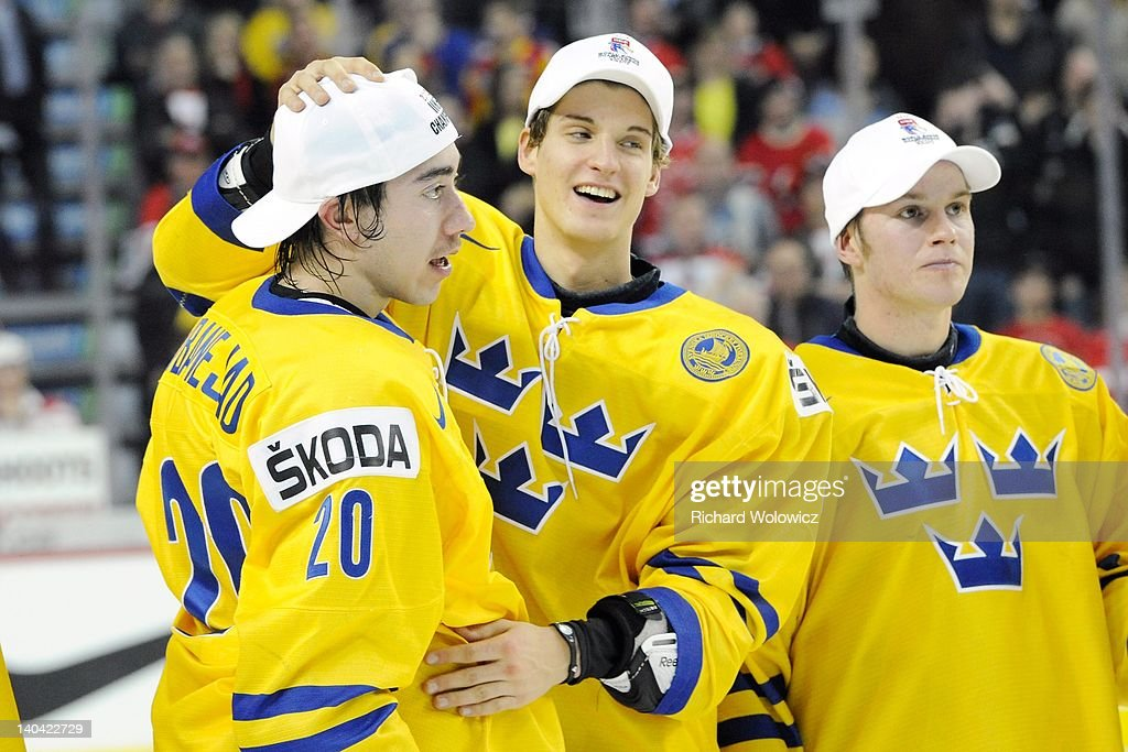 Mika Zibanejad #20 of Team Sweden celebrates after scoring the overtime goal against Team Russia during the 2012 World Junior Hockey Championship Gold Medal game at the Scotiabank Saddledome on January 5, 2012 in Calgary, Alberta, Canada. Team Sweden defeated Team Russia 1-0 in overtime.