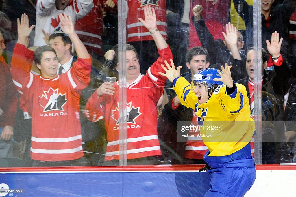 Mika Zibanejad #20 of Team Sweden celebrates his overtime goal against Team Russia during the 2012 World Junior Hockey Championship Gold Medal game at the Scotiabank Saddledome on January 5, 2012 in Calgary, Alberta, Canada. Team Sweden defeated Team Russia 1-0 in overtime.
