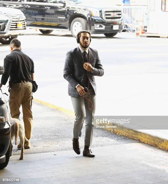 Mika Zibanejad of the New York Rangers arrives to play against the Ottawa Senators in Game Three of the Eastern Conference Second Round during the...