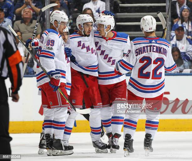 Mika Zibanejad of the New York Rangers celebrates a goal against the Toronto Maple Leafs in an NHL game at the Air Canada Centre on October 7 2017 in...