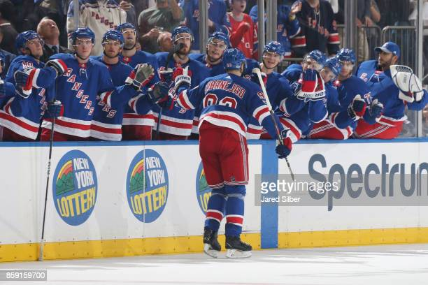 Mika Zibanejad of the New York Rangers celebrates after scoring a goal in the third period against the Montreal Canadiens at Madison Square Garden on...
