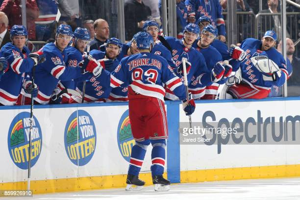 Mika Zibanejad of the New York Rangers celebrates after scoring a goal in the first period against the St Louis Blues at Madison Square Garden on...