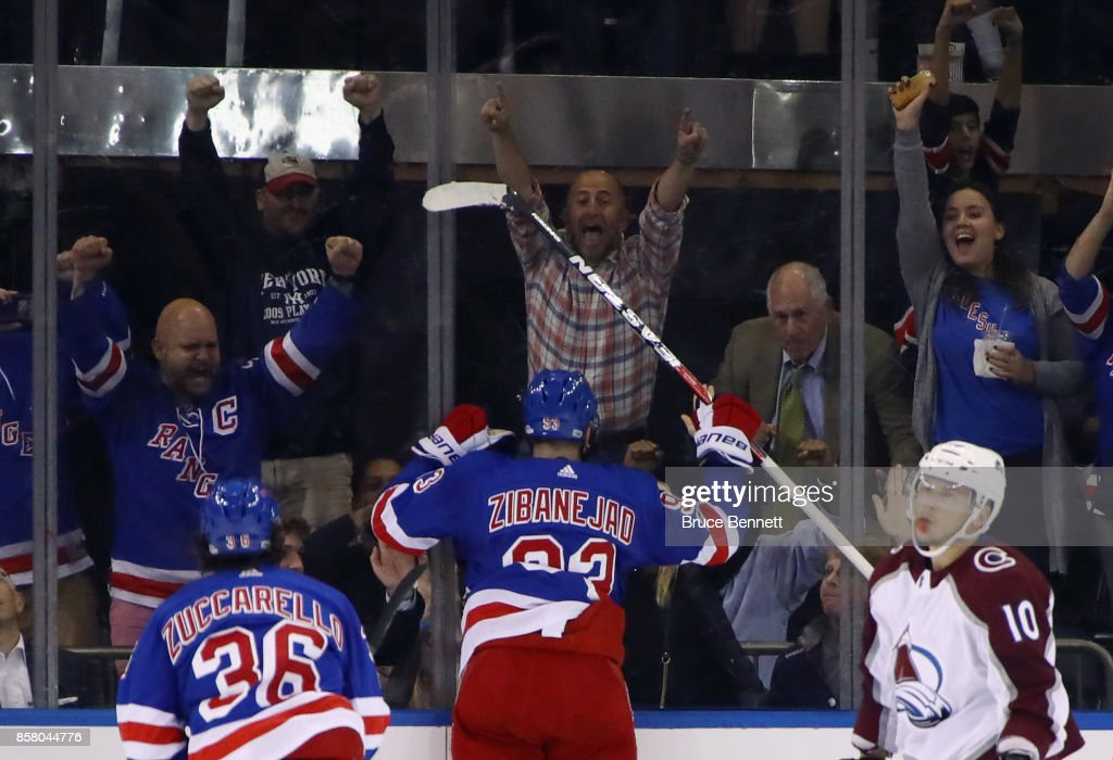 Mika Zibanejad #93 of the New York Rangers celebrates his goal at 17:28 of teh first period against the Colorado Avalanche at Madison Square Garden on October 5, 2017 in New York City.