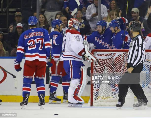 Mika Zibanejad of the New York Rangers celebrates his insurance goal at 913 of the third period against Carey Price of the Montreal Canadiens at...