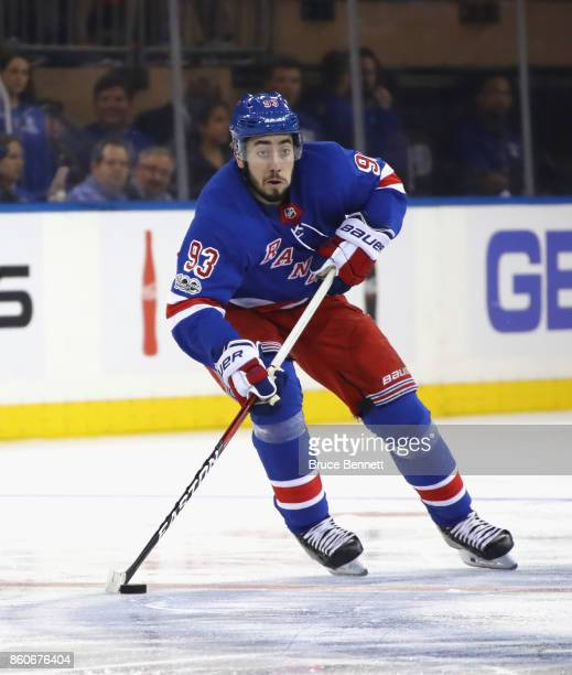 Mika Zibanejad of the New York Rangers skates against the Montreal Canadiens at Madison Square Garden on October 8 2017 in New York City The Rangers...
