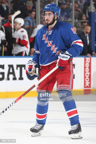 Mika Zibanejad of the New York Rangers skates against the Ottawa Senators in Game Four of the Eastern Conference Second Round during the 2017 NHL...