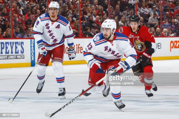 Mika Zibanejad of the New York Rangers skates against the Ottawa Senators in Game Five of the Eastern Conference Second Round during the 2017 NHL...