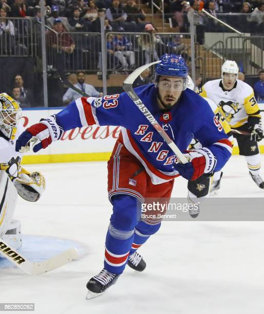Mika Zibanejad of the New York Rangers skates against the Pittsburgh Penguins at Madison Square Garden on October 17 2017 in New York City The...